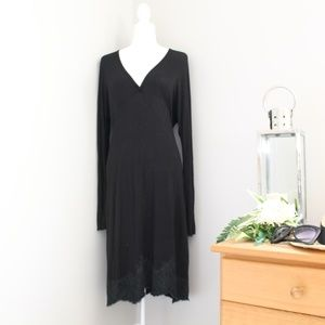 RED Valentino Black V-Neck Longsleeve Dress L/44